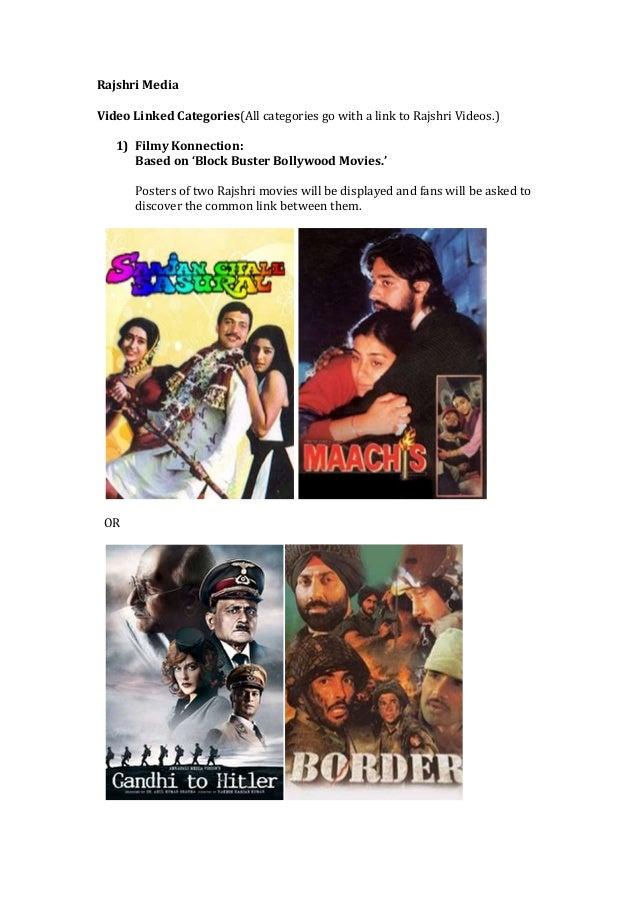Rajshri Media Video Linked Categories(All categories go with a link to Rajshri Videos.) 1) Filmy Konnection: Based on 'Blo...