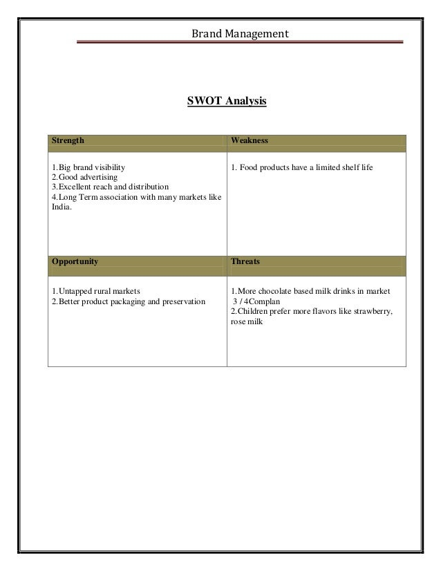 swot analysis of horlicks drink Here is the swot analysis of horlicks which is a malted energy drink product  and comes from the armoury of glaxosmithkline (gsk).
