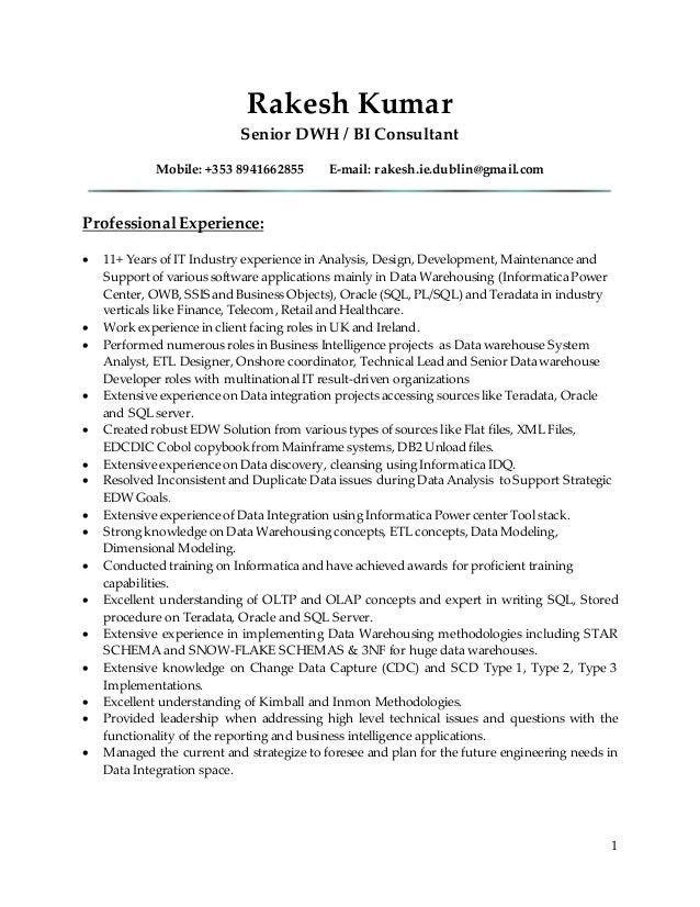 Teradata Resume Dokya Kapook Co