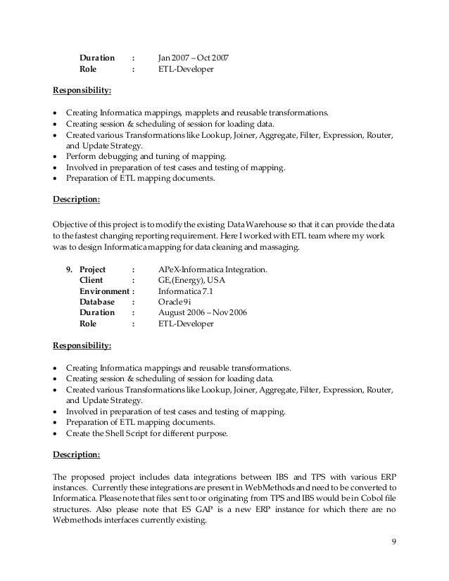 Charming Etl Developer Resume Informatica Rakesh Sr Dwh Bi Consultant Resume