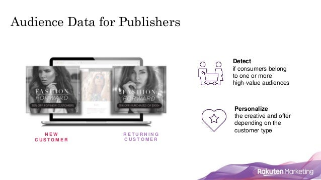 Audience Data for Publishers N E W C U S T O M E R R E T U R N I N G C U S T O M E R Detect if consumers belong to one or ...