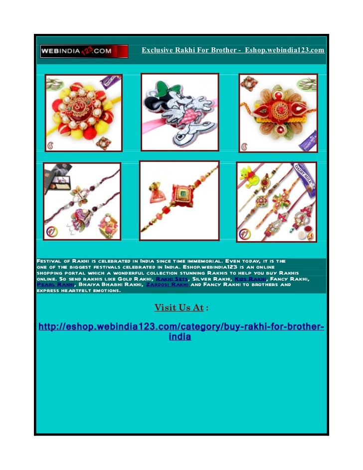 Exclusive Rakhi For Brother - Eshop.webindia123.com     Festival of Rakhi is celebrated in India since time immemorial. Ev...