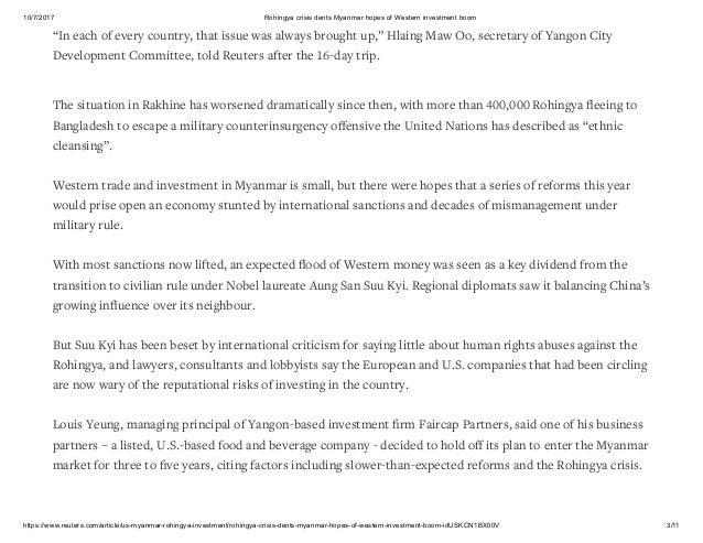 RAKHINE STATE CRISIS AND MYANMAR ECONOMY