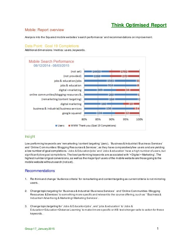 Think Optimised Report Group 17_January2015 1 Mobile: Report overview Analysis into the Squared mobile websites 'search pe...