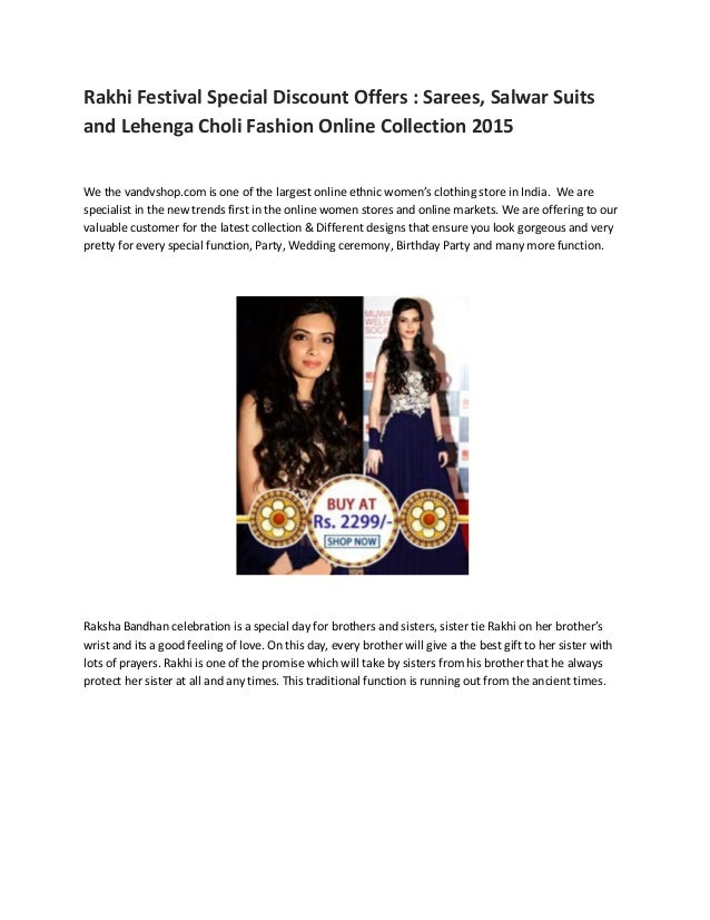 Rakhi Festival Special Discount Offers : Sarees, Salwar Suits and Lehenga Choli Fashion Online Collection 2015 We the vand...