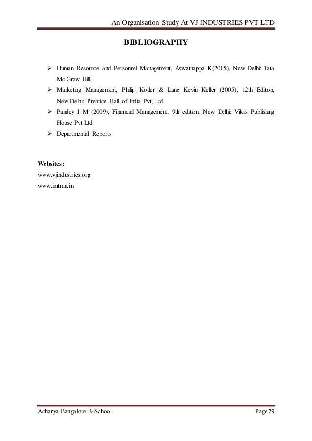 Organisation Study at VJ Industries Pvt Ltd