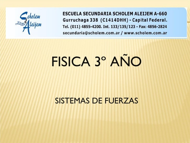 <ul><li>FISICA 3º AÑO </li></ul><ul><li>SISTEMAS DE FUERZAS </li></ul>