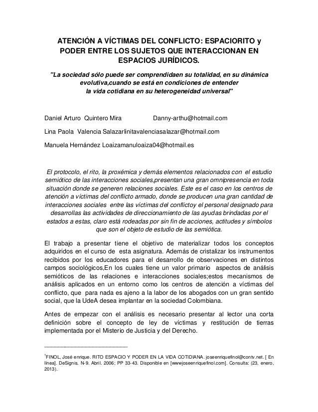 ATENCIÓN A VÍCTIMAS DEL CONFLICTO: ESPACIORITO y      PODER ENTRE LOS SUJETOS QUE INTERACCIONAN EN                    ESPA...