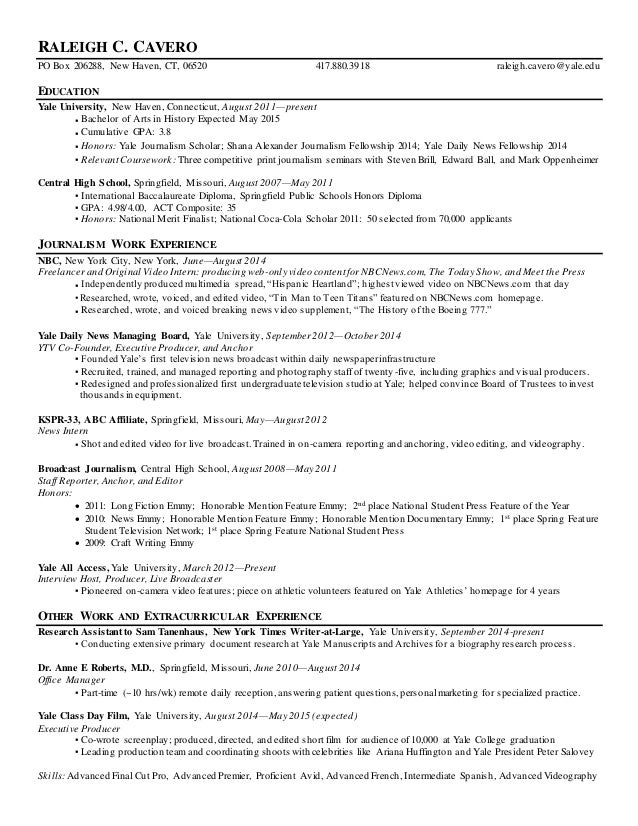 Raleigh Cavero Resume