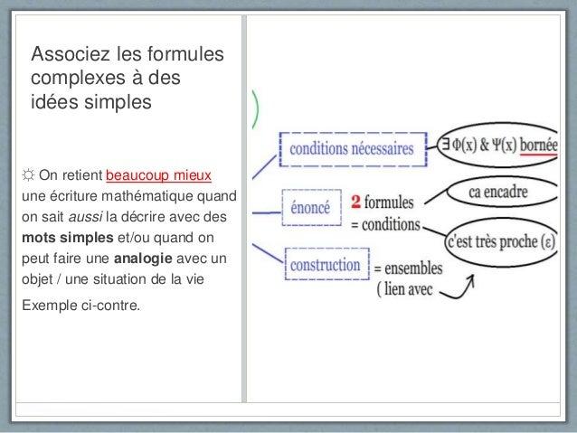 Associez les formules complexes à des idées simples ☼ On retient beaucoup mieux une écriture mathématique quand on sait au...