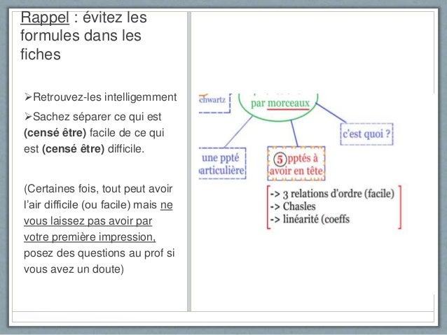 Rappel : évitez les formules dans les fiches Retrouvez-les intelligemment Sachez séparer ce qui est (censé être) facile ...