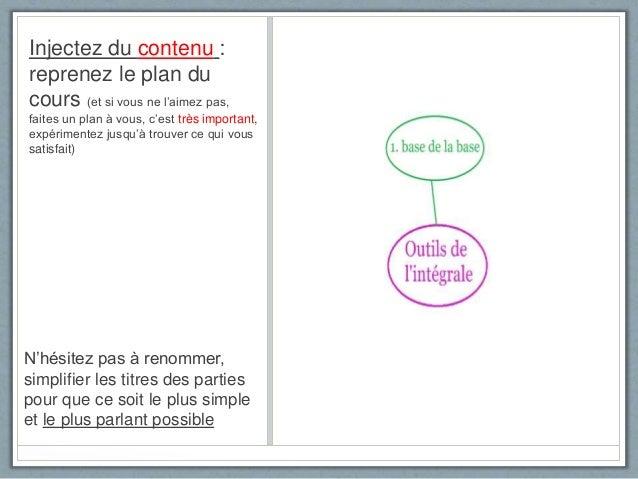 Injectez du contenu : reprenez le plan du cours (et si vous ne l'aimez pas, faites un plan à vous, c'est très important, e...