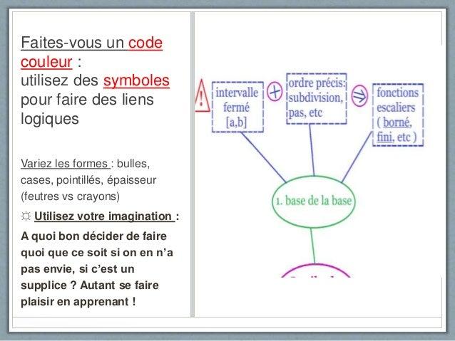 Faites-vous un code couleur : utilisez des symboles pour faire des liens logiques Variez les formes : bulles, cases, point...