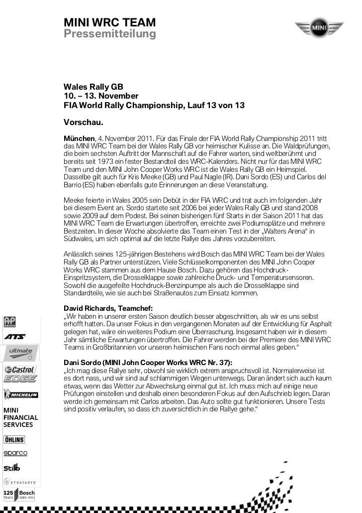 MINI WRC TEAMPressemitteilungWales Rally GB10. – 13. NovemberFIA World Rally Championship, Lauf 13 von 13Vorschau.München,...