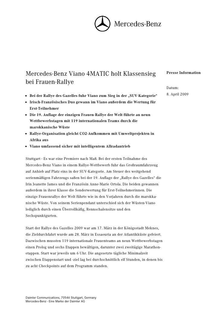 Mercedes-Benz Viano 4MATIC holt Klassensieg                                          Presse Informationbei Frauen-Rallye  ...