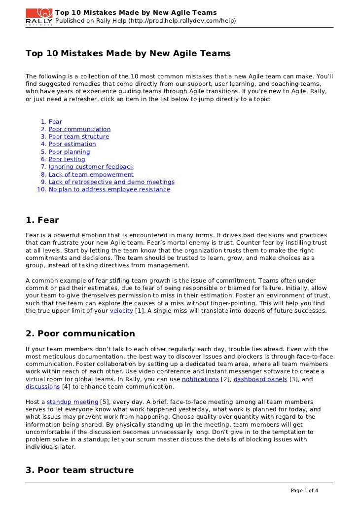 Top 10 Mistakes Made by New Agile Teams           Published on Rally Help (http://prod.help.rallydev.com/help)Top 10 Mista...