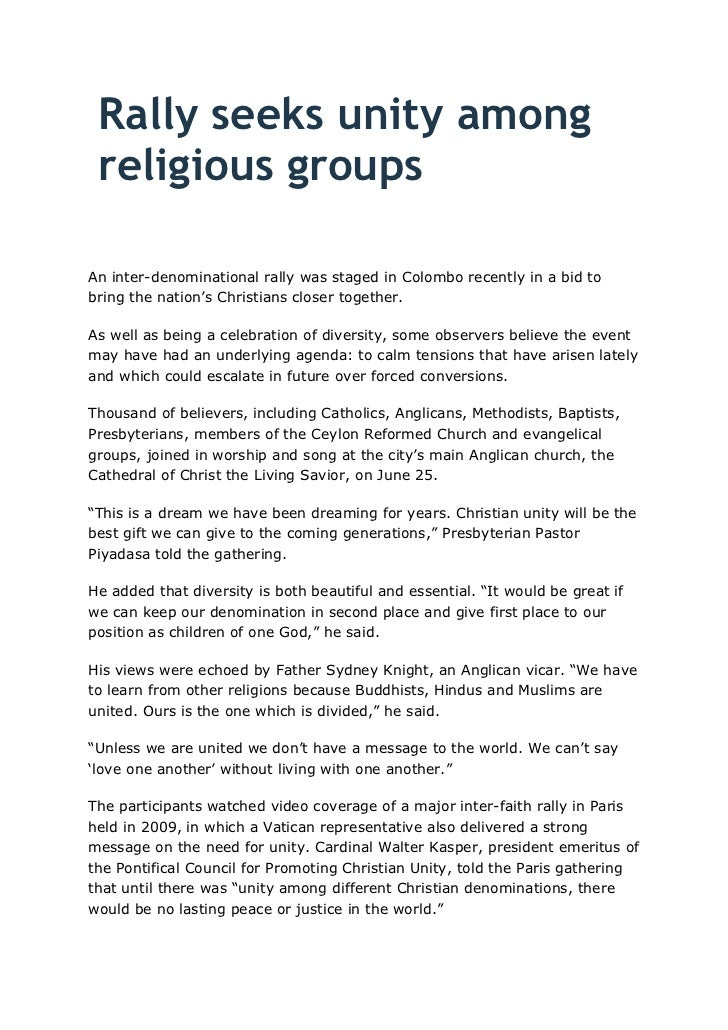 Rally seeks unity among religious groups<br />An inter-denominational rally was staged in Colombo recently in a bid to bri...