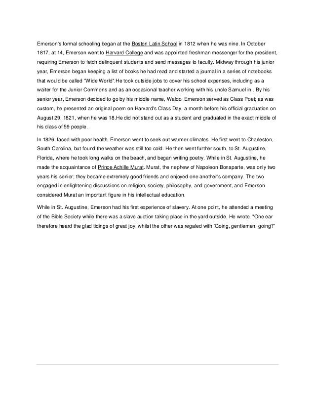 Ralph waldo emerson's essays