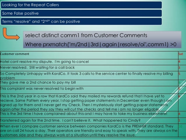"""select distinct comm1 from Customer Comments Where prxmatch(""""m/2nd