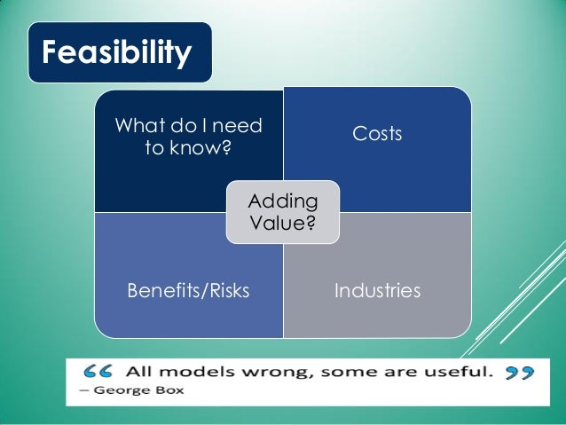 Feasibility What do I need to know? Costs Benefits/Risks Industries Adding Value?