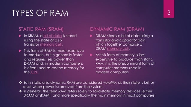 difference between static and dynamic ram