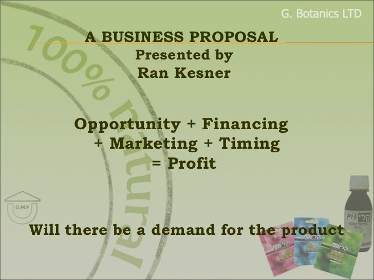 Opportunity + Financing    + Marketing + Timing  = Profit Will there be a demand for the product A BUSINESS PROPOSAL  Pres...