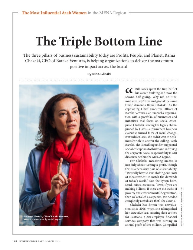 The Most Influential Arab Women in the MENA Region                The Triple Bottom Line      The three pillars of busines...