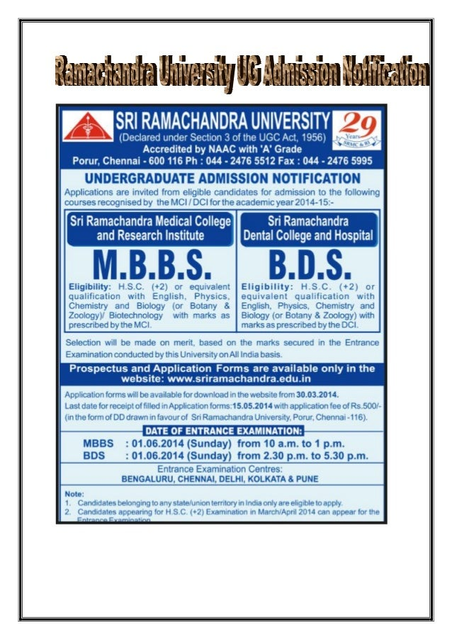 Ramachandra University mbbs / bds Notification on