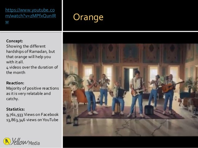https://www.youtube.co m/watch?v=zMPfxQunIR w Concept: Showing the different hardships of Ramadan, but that orange will he...