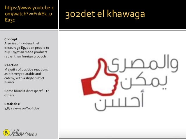 https://www.youtube.c om/watch?v=FnkEk_u Ea3c Concept: A series of 3 videos that encourage Egyptian people to buy Egyptian...
