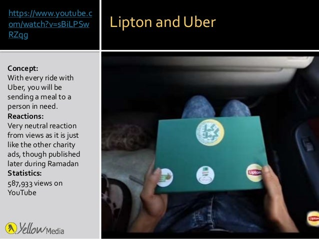 https://www.youtube.c om/watch?v=sBiLPSw RZqg Concept: With every ride with Uber, you will be sending a meal to a person i...