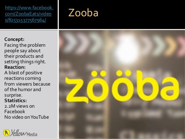 https://www.facebook. com/ZoobaEats/video s/825315377567964/ Concept: Facing the problem people say about their products a...