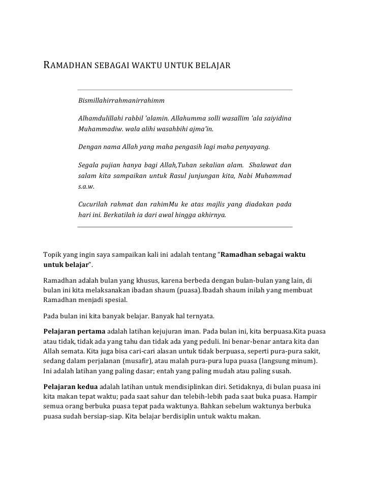 Ramadhan sebagai waktu untuk belajar<br />Bismillahirrahmanirrahimm<br />Alhamdulillahi rabbil 'alamin. Allahumma solli wa...