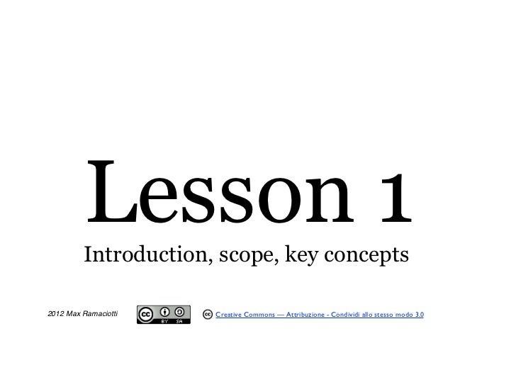 Lesson 1         Introduction, scope, key concepts                                                 Timing Excel2012 Max Ra...
