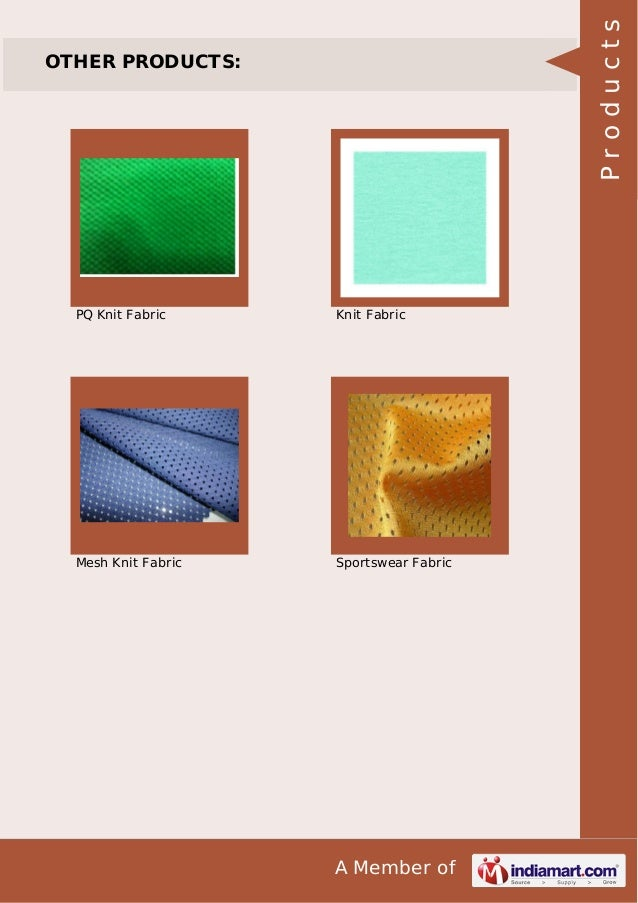 A Member of OTHER PRODUCTS: PQ Knit Fabric Knit Fabric Mesh Knit Fabric Sportswear Fabric Products