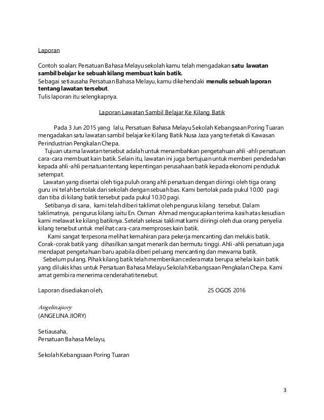 Contoh Soalan Karangan Laporan Selangor U