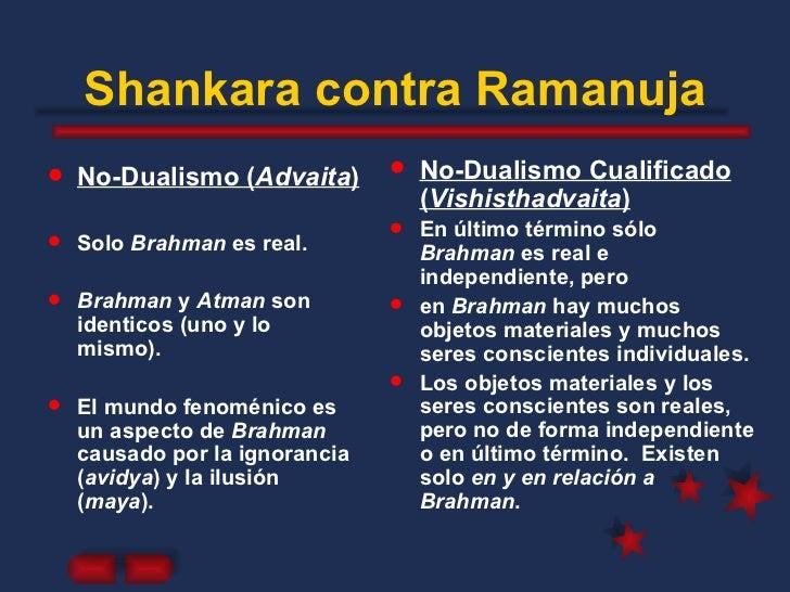Shankara contra Ramanuja <ul><li>No-Dualismo ( Advaita ) </li></ul><ul><li>Solo  Brahman  es real. </li></ul><ul><li>Brahm...