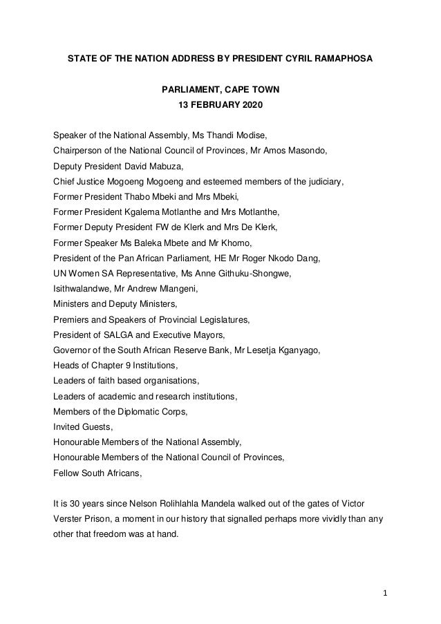1 STATE OF THE NATION ADDRESS BY PRESIDENT CYRIL RAMAPHOSA PARLIAMENT, CAPE TOWN 13 FEBRUARY 2020 Speaker of the National ...