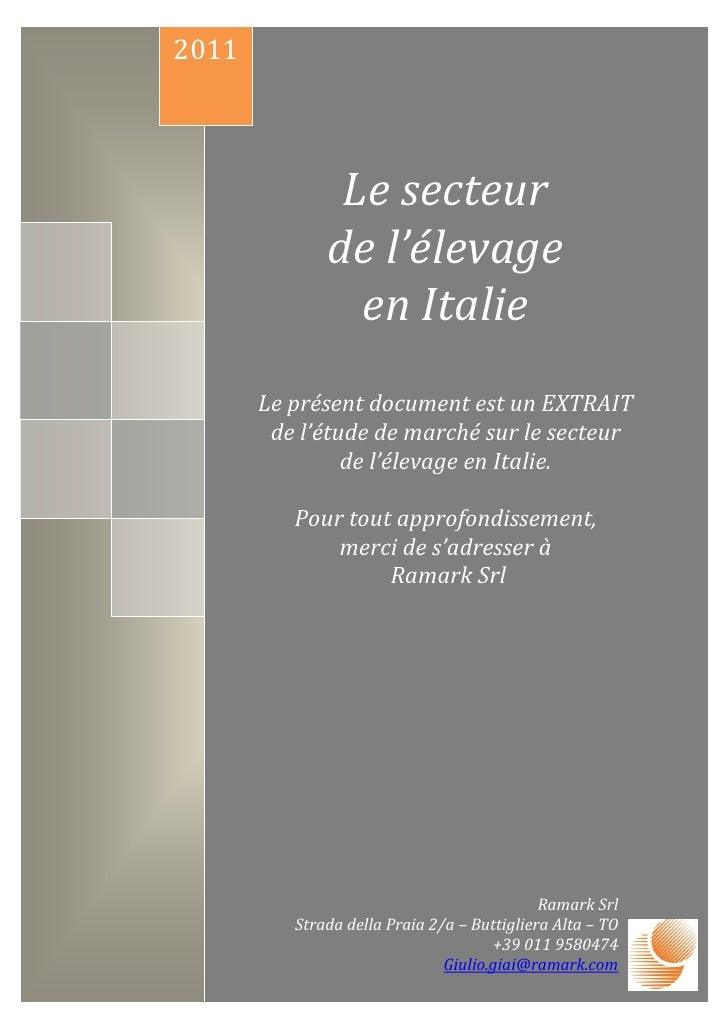 2011               Le secteur              de l'élevage                en Italie       Le présent document est un EXTRAIT ...