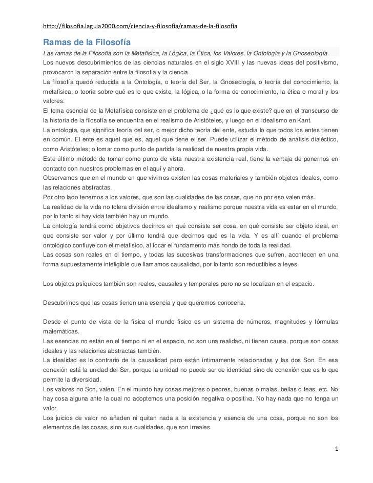 http://filosofia.laguia2000.com/ciencia-y-filosofia/ramas-de-la-filosofiaRamas de la FilosofíaLas ramas de la Filosofía so...