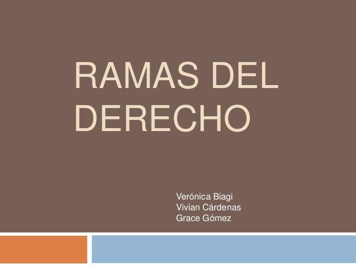 Ramas del Derecho<br />Verónica Biagi <br />Vivian Cárdenas <br />Grace Gómez<br />