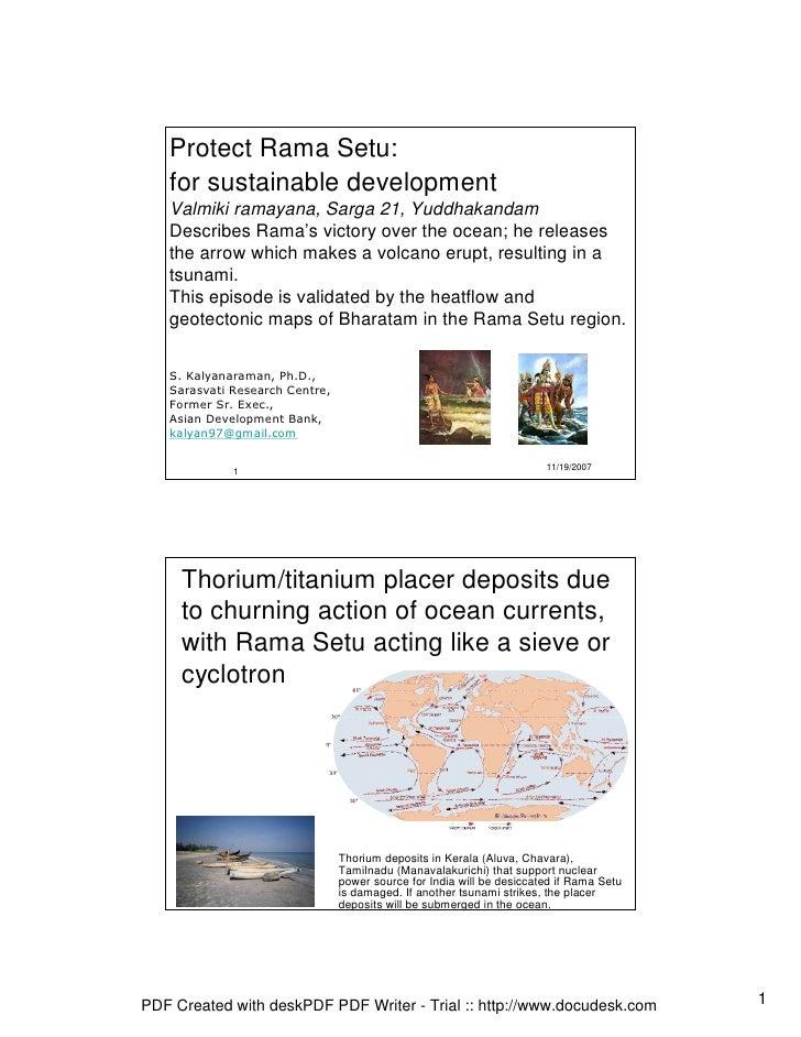 Protect Rama Setu:    for sustainable development    Valmiki ramayana, Sarga 21, Yuddhakandam    Describes Rama's victory ...