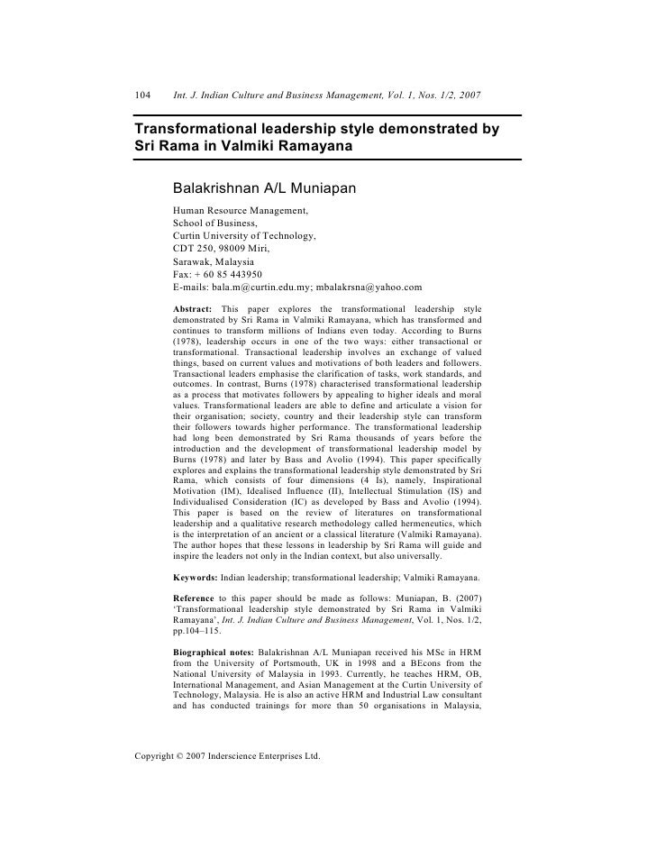 104      Int. J. Indian Culture and Business Management, Vol. 1, Nos. 1/2, 2007Transformational leadership style demonstra...