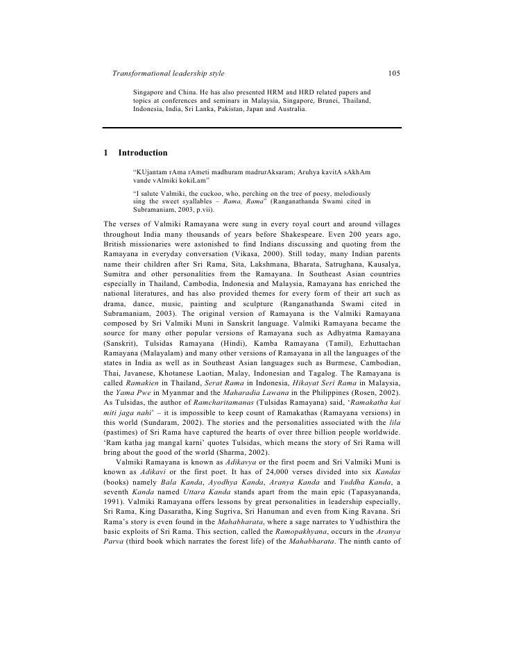 Critical Essays On Valmiki Ramayana