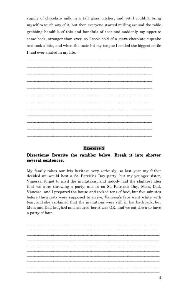 Rambling sentences handout