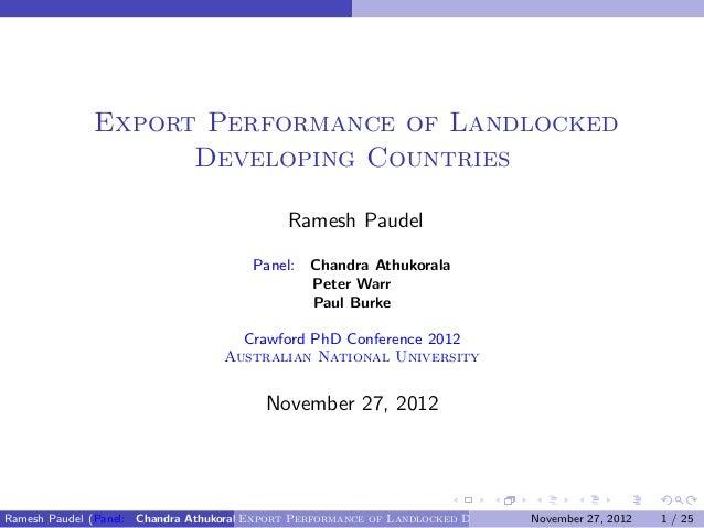 Export Performance of Landlocked                    Developing Countries                                             Rames...