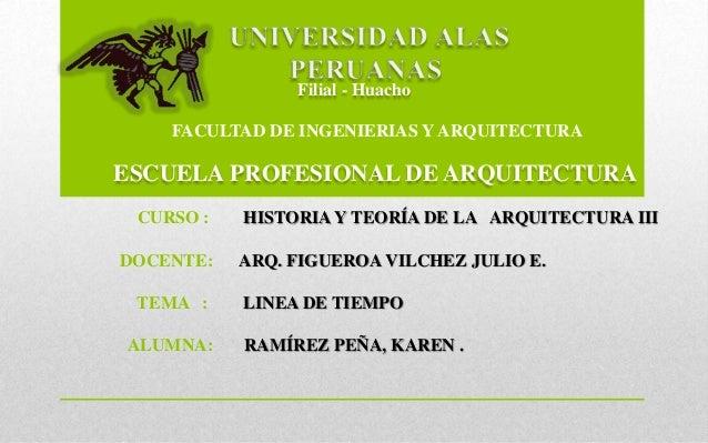 FACULTAD DE INGENIERIAS Y ARQUITECTURA ESCUELA PROFESIONAL DE ARQUITECTURA Filial - Huacho CURSO : HISTORIA Y TEORÍA DE LA...