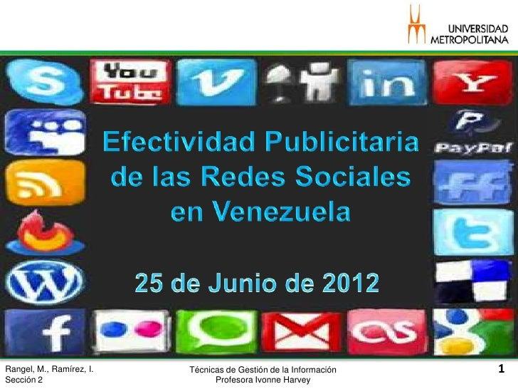 Rangel, M., Ramírez, I.   Técnicas de Gestión de la InformaciónSección 2                       Profesora Ivonne Harvey