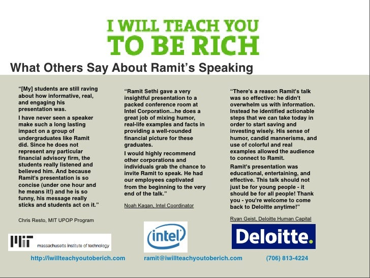 """What Others Say About Ramit's Speaking  """"[My] students are still raving    """"Ramit Sethi gave a very           """"There's a r..."""
