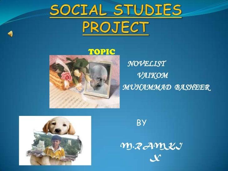 SOCIAL STUDIES PROJECT<br />TOPIC<br />NOVELIST<br />                                                                     ...